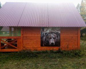 роспись фасада медведь