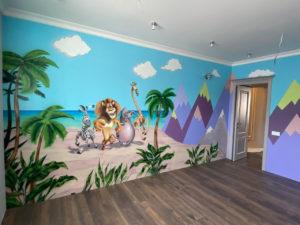 роспись стен в детской мадагаскар