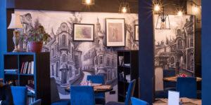 Роспись в стиле аэрография, ресторан квартира 50 Новосибирск