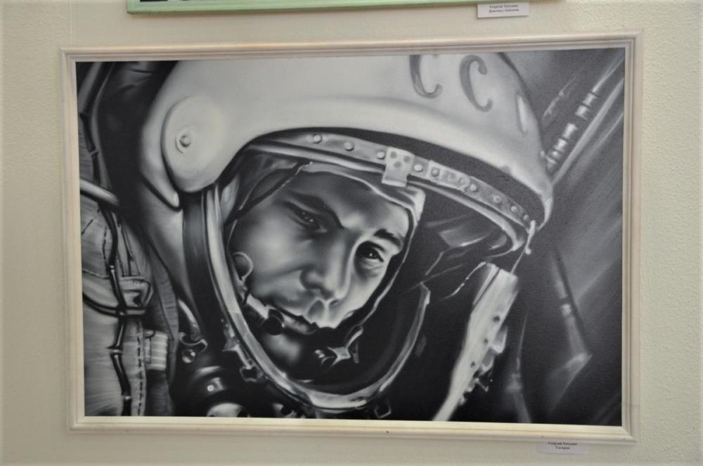 портрет Юрия Гагарина, аэрография