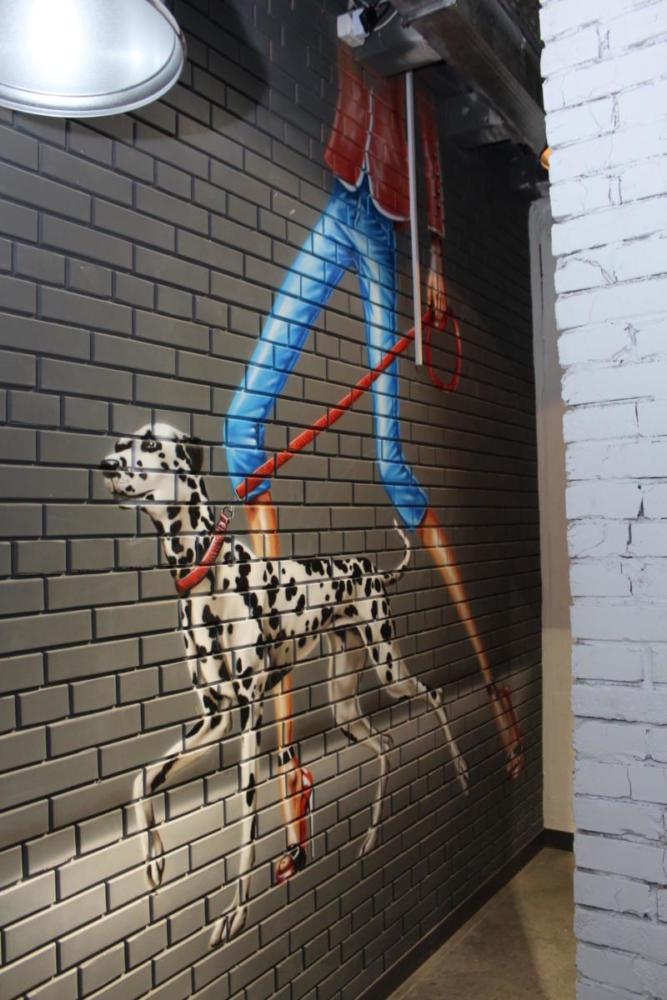 роспись кирпич собака