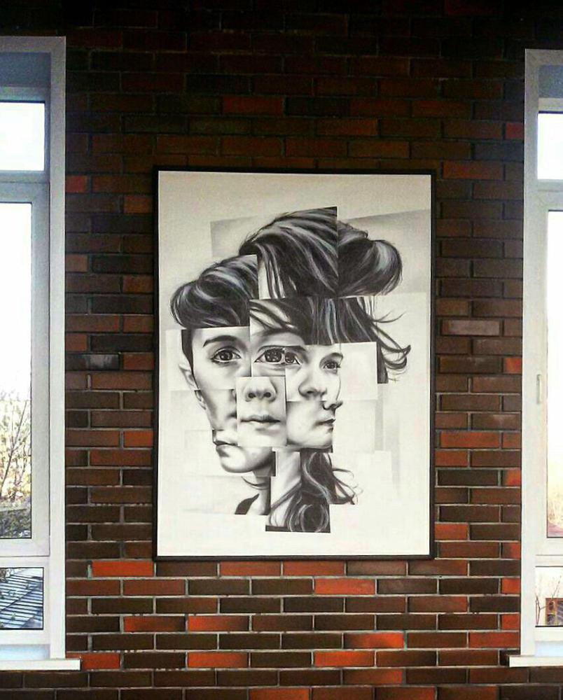 картина абстракция девушка