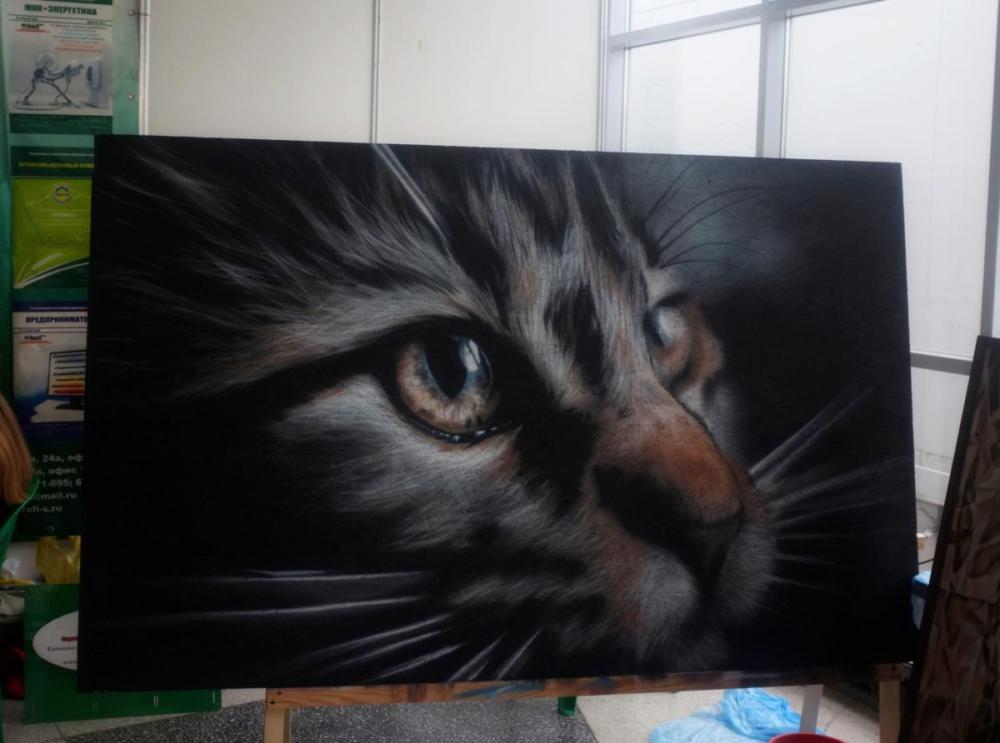 """""""Кот"""", картина, строительная выставка г. Барнаул, художник Георгий Титунин"""