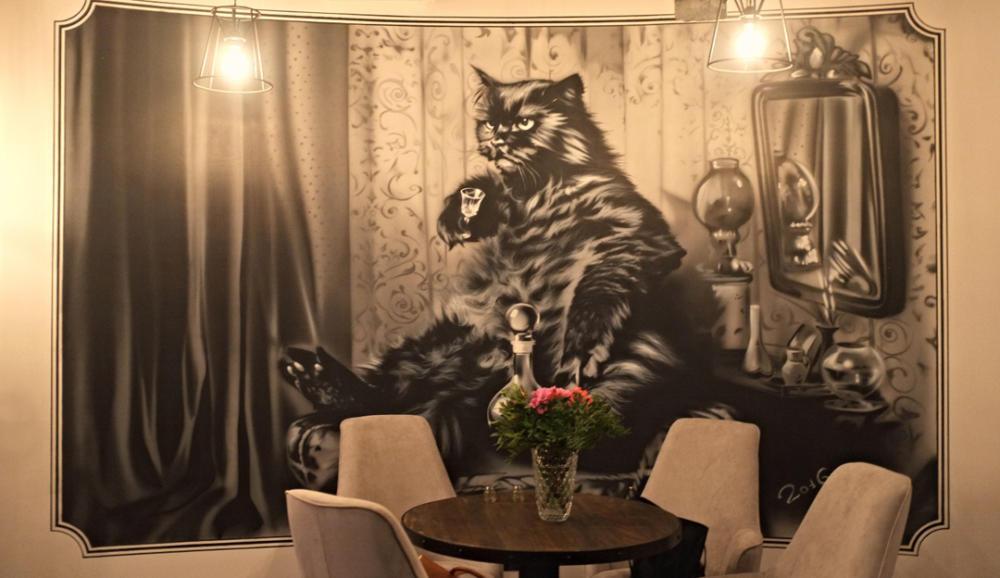 роспись стен в кафе, Кот