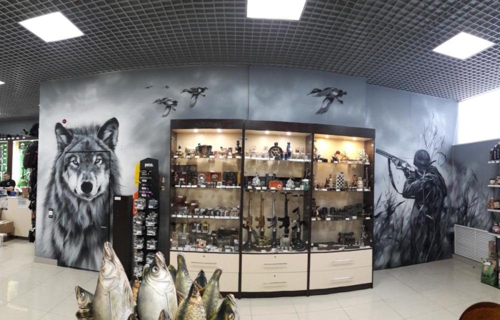 роспись на стене, охотник и волк