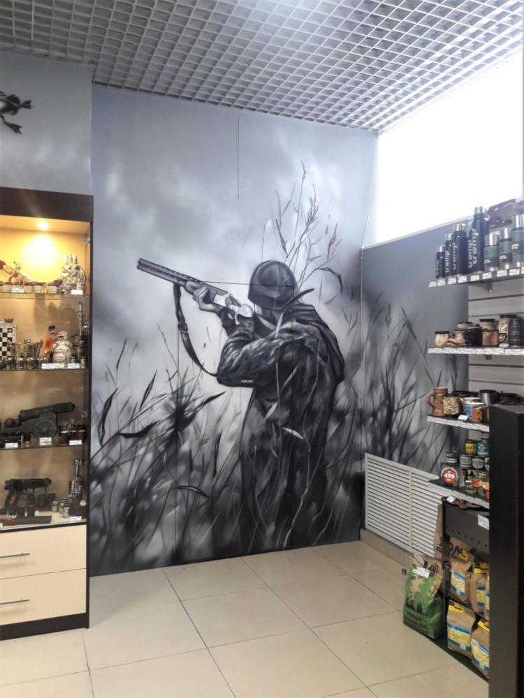 Роспись в магазине охотник