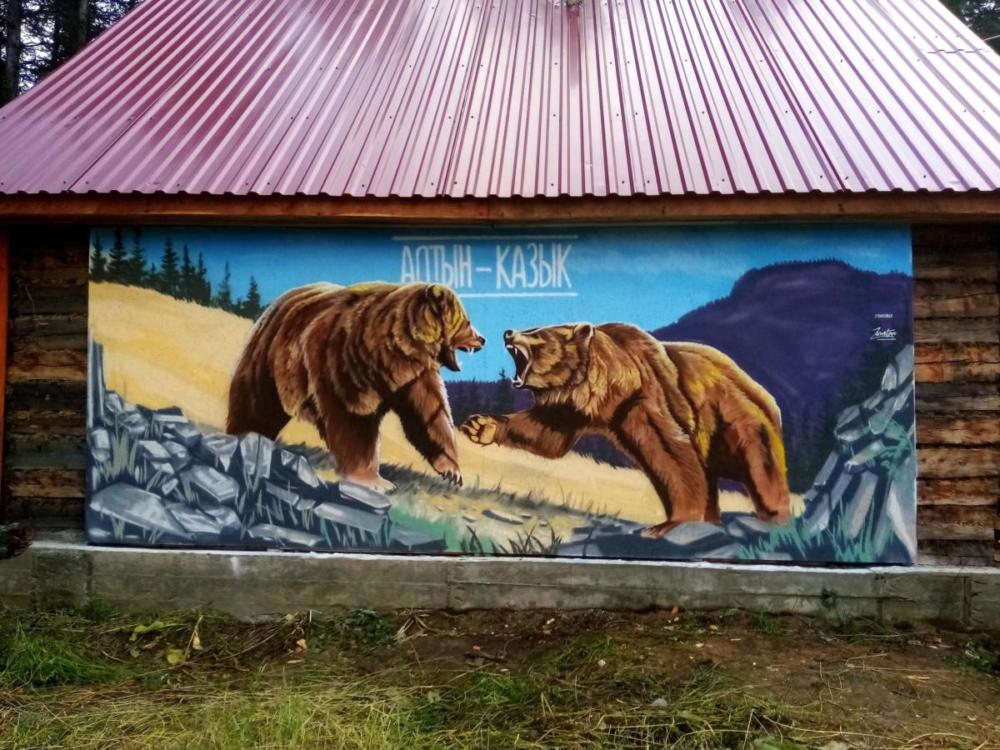 роспись фасада медведи